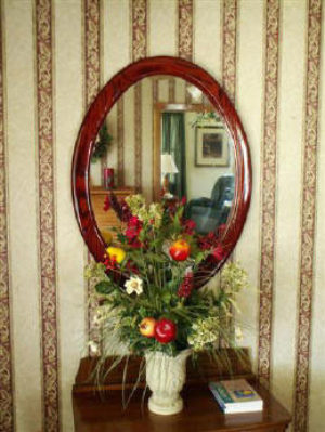 Oak Oval Mirror Frame, Stained Red