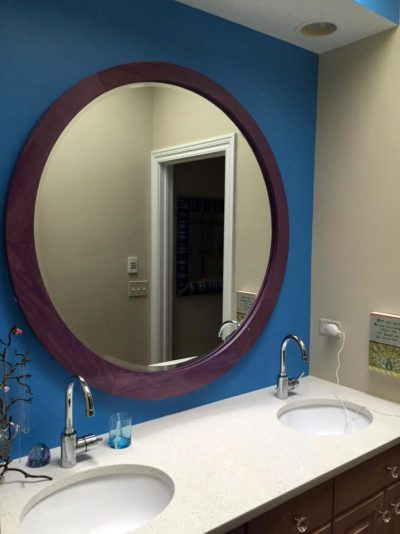 Round Mirror Frame Stained Purple