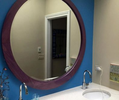 Round Mirror Frame Stained Purple