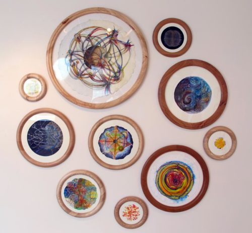 example of round frames with different species of hardwoods with natural colors