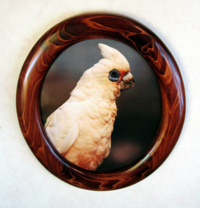 Oval Picture Frames Made of Cypress, Stained Red
