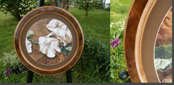 Oak Round Picture Frame with Walnut Burl Veneer and a Round Mat