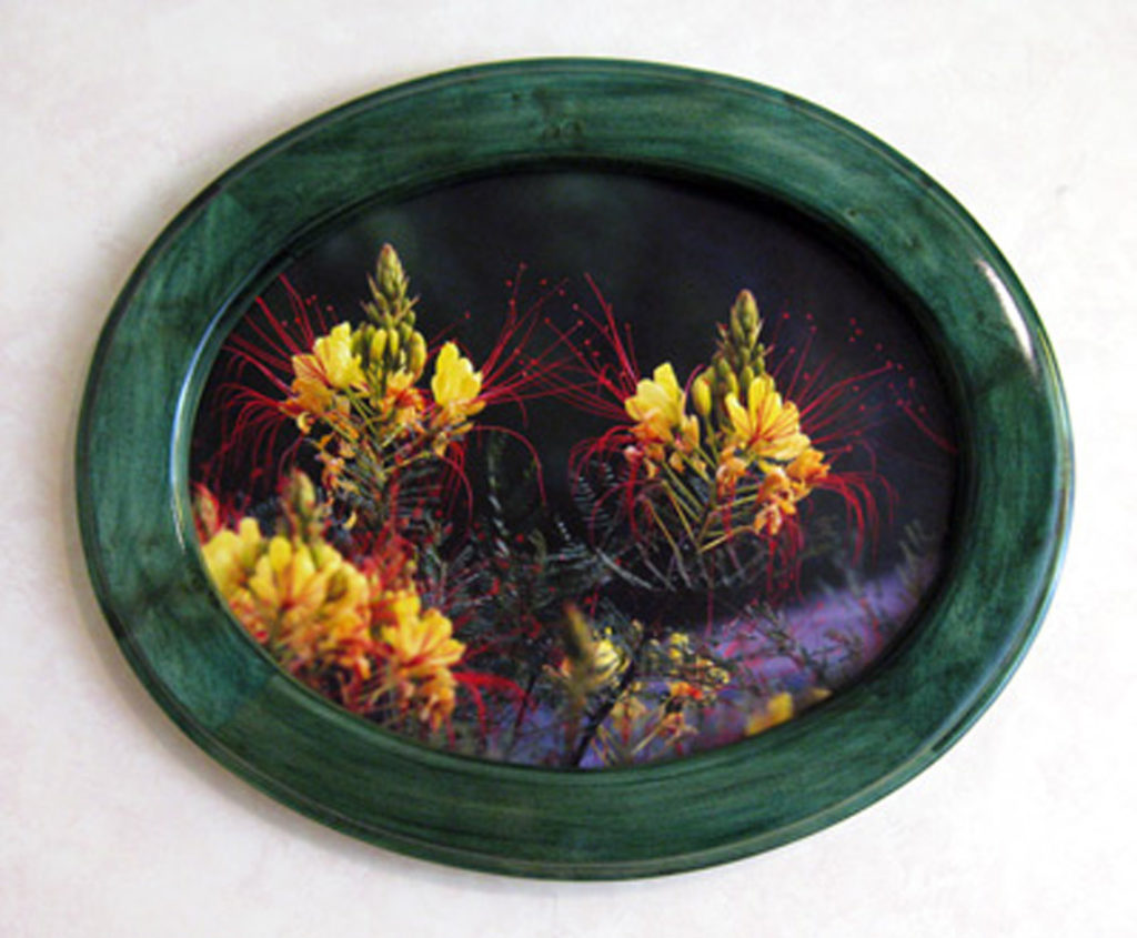 Oval Picture Frame Stained Vibrant Green