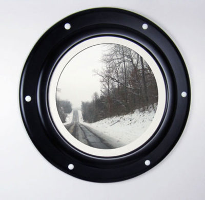 Black Porthole Frame with White Rivets