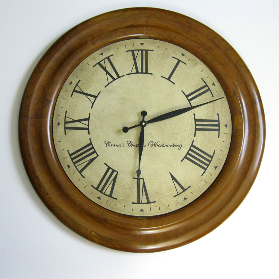Round Clock Frame Made Of Cherry Hardwood Natural Finish