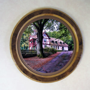 Round Frame of Oak with Walnut Burl Veneer Overlay