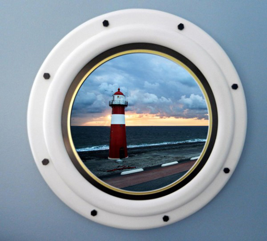 Round Nautical Picture Frame Made to Look Like a Ship Porthole