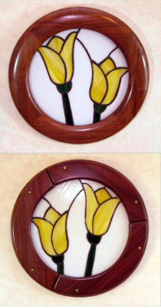 Round Stained Glass Frames made of Walnut