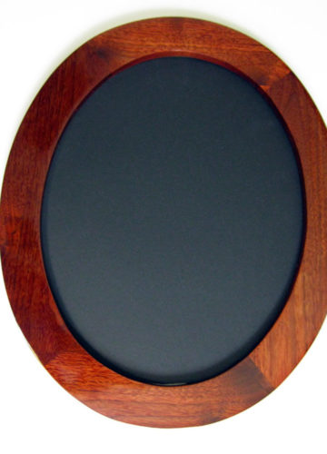 "Walnut Oval Picture Frames, shown ""Wide Gallery"" profile, Stained Red"
