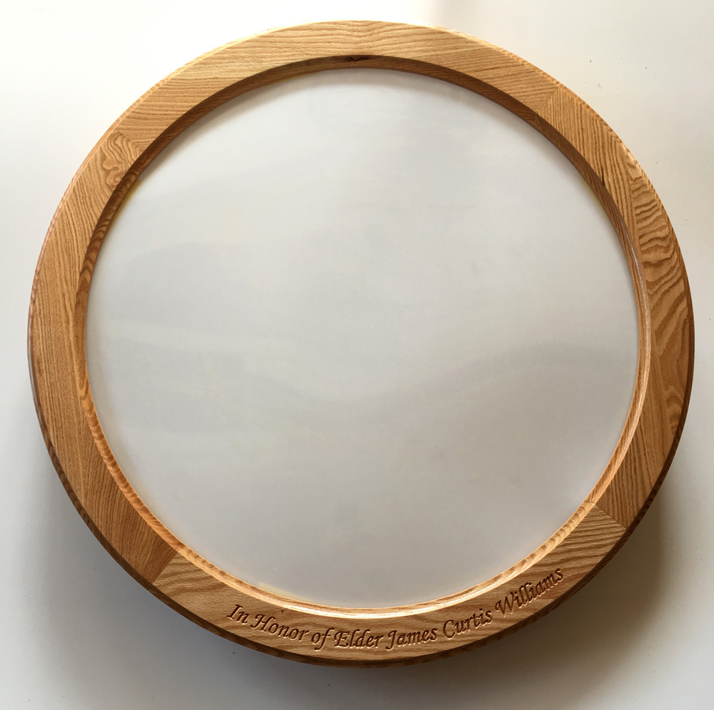 Round oak frame for stained glass with lettering