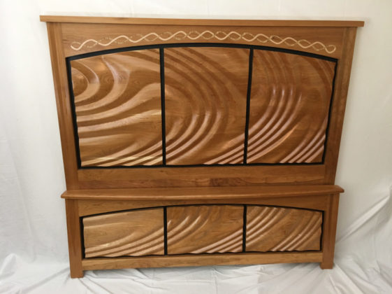 custom headboard footboard with mapel inlay