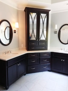 Oval vanity mirror set stained black