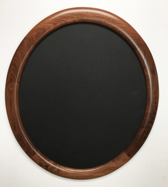 picture frames made of walnut with natural finish, oval shaped