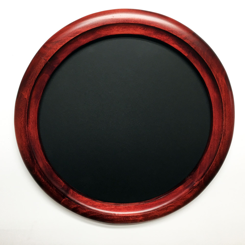red wood grain photo frame that is round