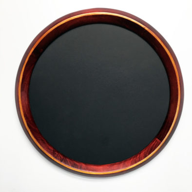 Round frame stained red with yellow tone stripe
