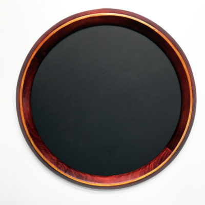 #615 Round Poplar Frame Stained Red With Yellow Accent