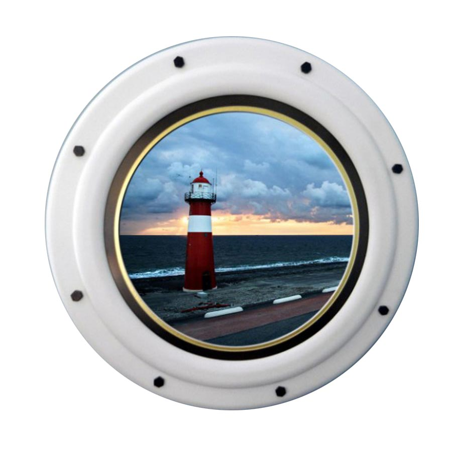Circular Nautical Frame with Satin White Finish
