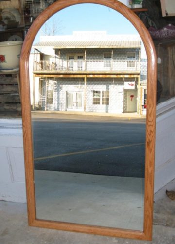 Oak Custom Cathedral Frame Shown with Mirror