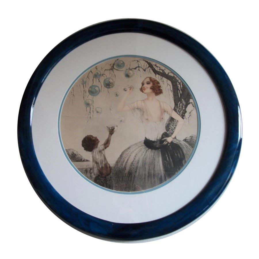 Poplar Round Picture Frame, Stained Blue