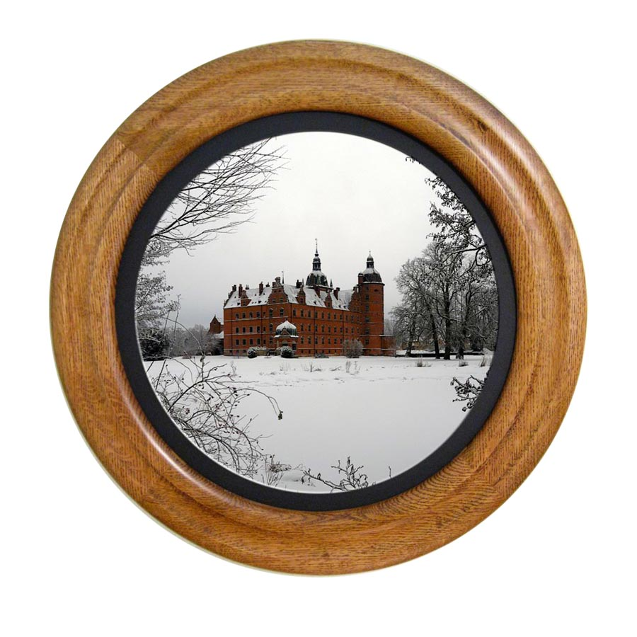 Round Photo Frame Stained Golden Oak