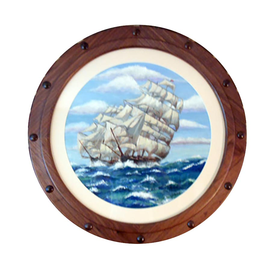 Round Walnut Porthole frame with Round White Mat