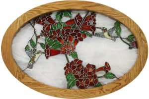 Oak Oval Frame For Stained Glass