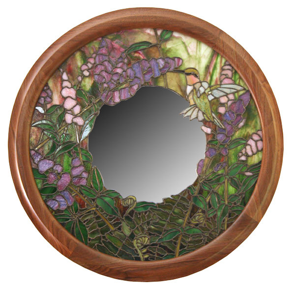 Round frame for stained glass made of walnut