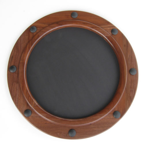 Round picture frame made of walnut