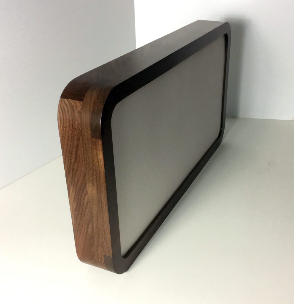 Round corner walnut frame with a thick profile design